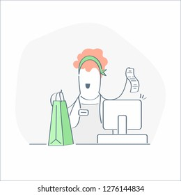 Woman cashier in supermarket. Seller at the counter, supermarket checkout. Saleswoman giving purchases and bill to the client. Modern outline cartoon vector style illustration, premium quality