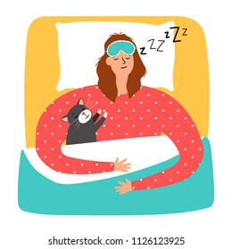 Woman and cat sleeping, vector illustration on white background