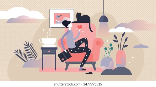 Woman with cat vector illustration. Flat tiny cosy room pet person concept. Comfortable evening routine with book reading and kitty. Warm domestic feeling and calm lifestyle. Symbolic friend companion