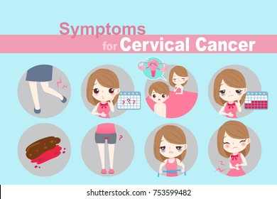 woman with cervical cancer on the blue background