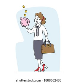 Woman Character Collect Golden Coins into Piggy Bank. Businesswoman Saving and Collecting Money in Thrift-box, Open Bank Deposit. Finance Budget Planning, Return on Invest. Linear Vector Illustration