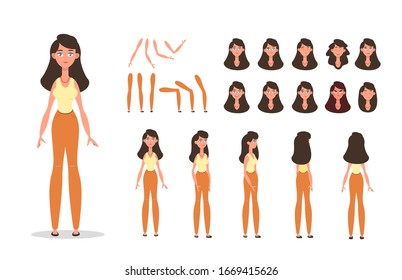 Woman character constructor for animation with various views, poses, gestures, hairstyles and emotions. Cartoon young woman, female parts of body ready to use poses. Vector illustration