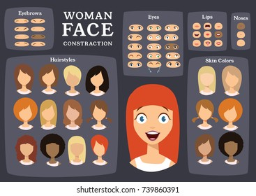 Woman Character Constructor. Cartoon Woman Face Parts Creation Spare Parts. Cartoon Style Faces. Body Part. Vector Illustration