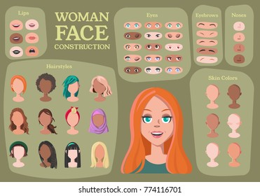 Woman Character Constructor. From Housewife to Hipster. Cartoon Woman Face Parts Creation Spare Parts. Cartoon Style Faces. Body Part. Vector Illustration
