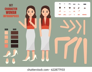 Woman character creation set. Build your own design. Cartoon vector flat-style infographic illustration