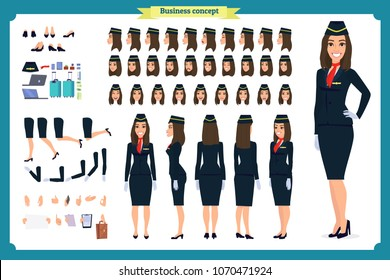 Woman character creation set. The stewardess, flight attendant. Icons with different types of faces and hair style, emotions, front, rear side. Vector flat illustration