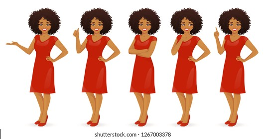 Woman character in dress set with different gestures isolated