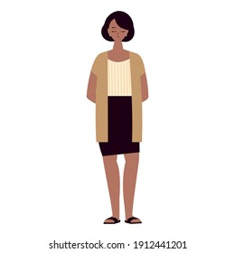 woman character female adult standing on white background vector illustration