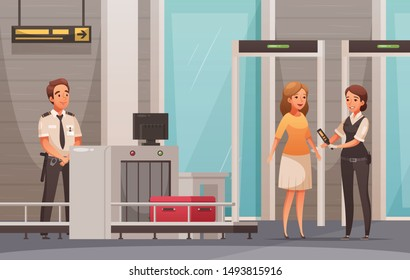 Woman character and her luggage being checked in airport cartoon background vector illustration