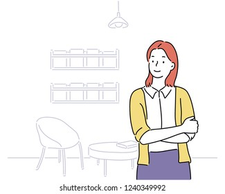 woman character and her shop inside. hand drawn style vector design illustrations.