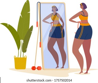 Woman character measure waist, female look mirror and loses weight isolated on white, cartoon vector illustration. Concept sport exercise, fitting training room, home gaining body mass.