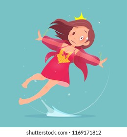 Woman character in red nightwear falling in bathroom because slippery surfaces. Vector flat cartoon illustration