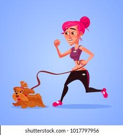 Woman character run with dog. Vector flat cartoon illustration