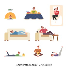 A woman character showing various ways of relaxing in the house vector illustration flat design