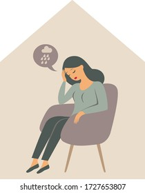 Woman character sitting alone inside the house, feeling stress emotion, depression. The psychological impact of coronavirus quarantine lockdown. Flat vector illustration