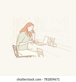 A woman character sitting at a cafe window and talking on the phone hand drawn style vector doodle design illustrations.