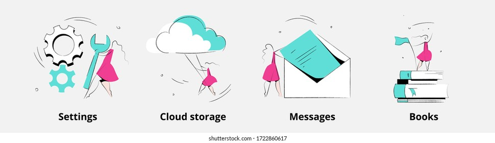 Woman character in various activities. Product category. Settings, cloud storage, messages and books concept vector illustration for mobile app onboarding screens. Hand drawn doodle sketch.