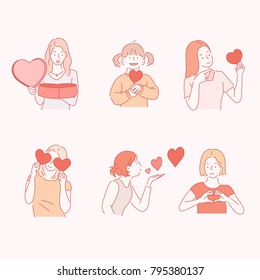 woman characters send love hearts hand drawn style vector doodle design illustrations.
