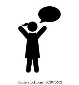 Woman with Chat Bubble Icon - Vector