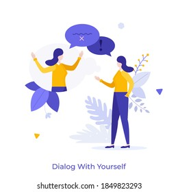 Woman chatting with herself or his twin. Concept of dialog or conversation with yourself, inner voice or speech, self talk, internal discourse. Modern flat colorful vector illustration for banner.