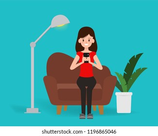 Woman chatting on mobile social network lifestyle.