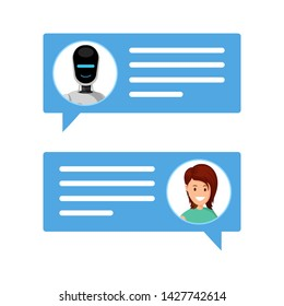 Woman chatting with robot flat vector illustration. Message boxes with user and chatbot avatars. Communication with artificial intelligence, modern online customer support service, internet technology