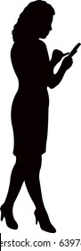 woman check your cell phone, silhouette vector