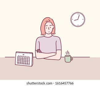 Woman checking the calendar. Hand drawn style vector design illustrations.