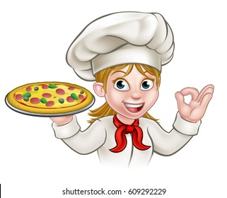A woman chef cartoon character holding pizza