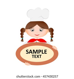 Woman chef holding a plate with the text. Vector illustration.