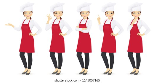 Woman chef set in different poses vector illustration