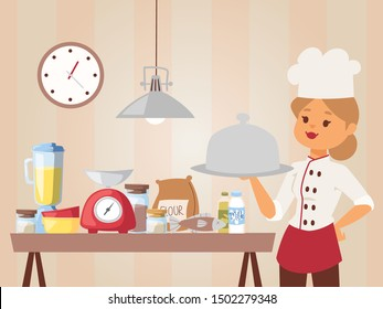 Woman chef teaches cooking class, vector illustration. Girl in cook uniform holding a dish with cooked meal. Kitchen setup for baking, food ingredients on table. Professional chef, cartoon character