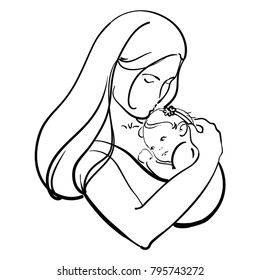 Woman with a child. Logo of a young mother with a baby in her hands. Black and white illustration of a mother hugging her baby. Logo family. Tattoo.