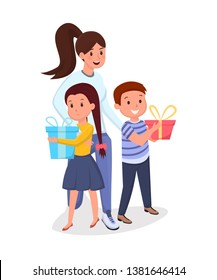 Woman, children with presents flat illustration. Mother with kids, elder sister with siblings holding gift boxes cartoon characters. Female volunteer, social worker visiting orphan asylum