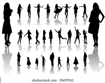 Woman and children silhouettes with reflection. Vector illustration.