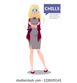 Woman with a chill. Symptom of disease. Girl feel cold and shiver. Flu or cold. Flat vector illustration