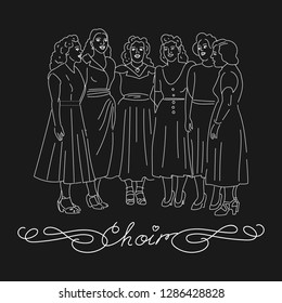 Woman choir singing. Group of people singing. White lines cartoon characters on black background. Vector illustration.
