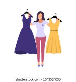 Woman chooses a dress. Girl try clothing. Vector illustration.