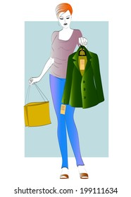 Woman chooses a green jacket to buy