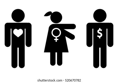 Woman chooses money, not love isolated on white background. Icon person, icon dollar, icon love.