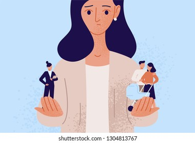 Woman choosing between family or parent responsibilities and career or professional success. Difficult choice, life dilemma, search of balance, decision making. Flat cartoon vector illustration.