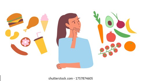 Woman choosing between healthy and junk food. Choice concept flat vector stock illustration. Fastfood and sweets vs vegitables and fruits comparison. Isolated clipart. Girl on a diet.