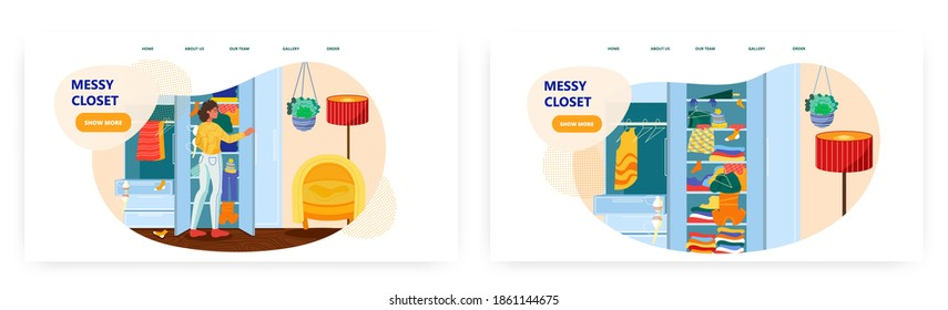 Woman is choosing dress from her messy closet. Mess at home concept vector illustration. Room interior with wardrobe. Clothes scattered around closet