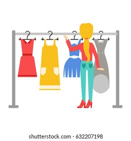 Woman choosing dresses during shopping or being in wardroom at home, shopping center or store, colorful vector illustration
