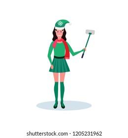 a55d503f56a woman christmas elf santa helper concept holding selfie stick flat full  length female cartoon character isolated