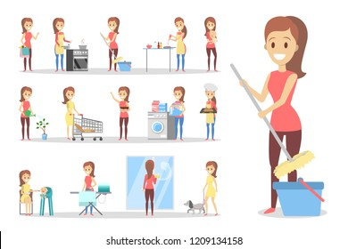 Woman clean home and doing a housework. Housewife doing everyday domestic routine. Isolated flat vector illustration