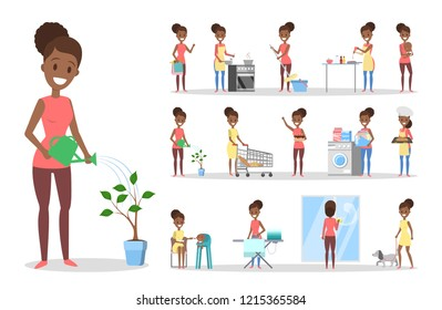 Woman clean home and doing a housework set. Housewife doing everyday domestic routine. Isolated flat vector illustration