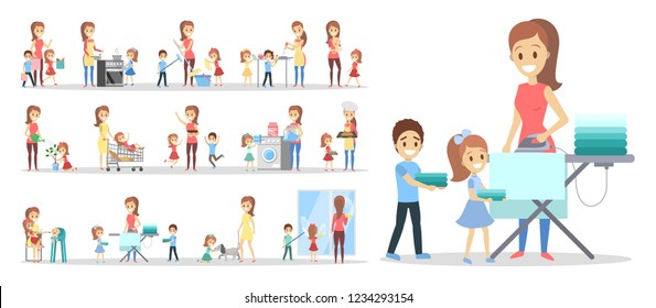Woman clean home and doing a housework with children set. Housewife doing everyday domestic routine and kids help her. Isolated flat vector illustration