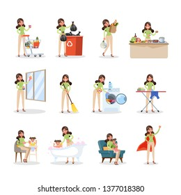 Woman clean home and doing a housework. Housewife doing everyday domestic routine with various equipment. Isolated flat vector illustration
