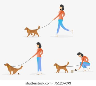 Woman cleaning after dog. Girl walking with pet. Golden retriever is pooping. Female character walking with dog on leash. Set of vector illustrations.